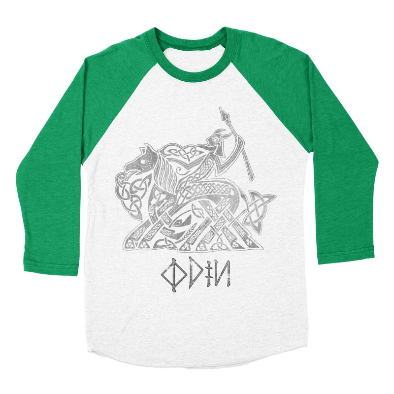 Odin Riding into Valhalla on Sleipnir (Gray) Men's Baseball Triblend T-Shirt by Celtic Hammer Club Apparel