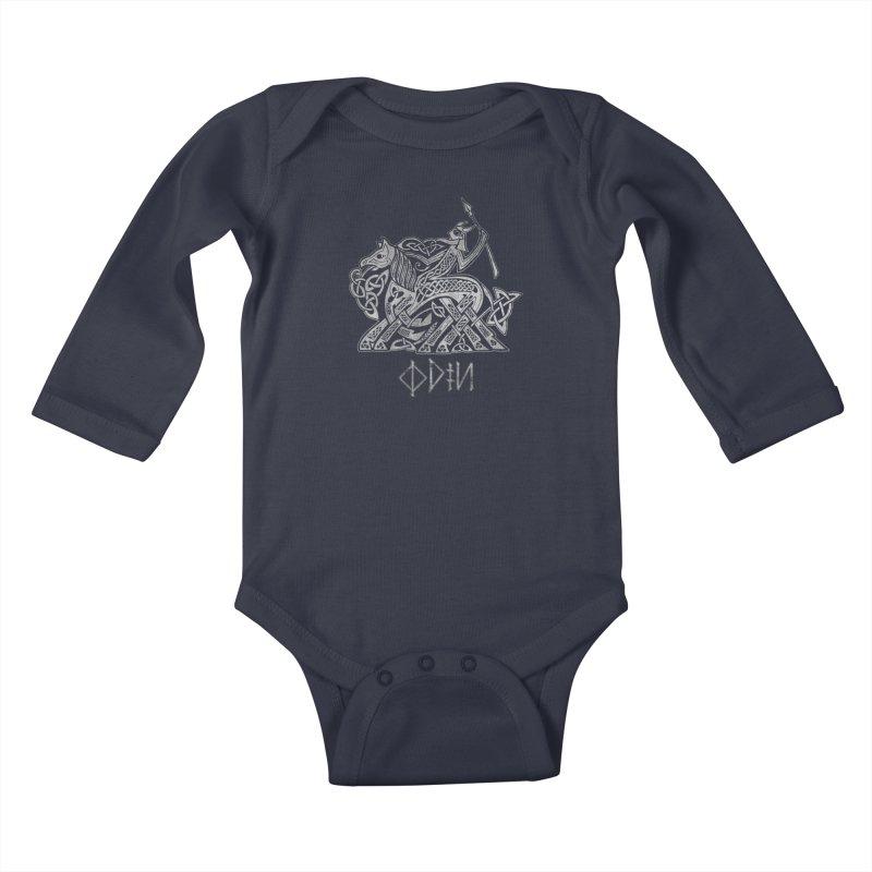Odin Riding into Valhalla on Sleipnir (Gray) Kids Baby Longsleeve Bodysuit by Celtic Hammer Club Apparel