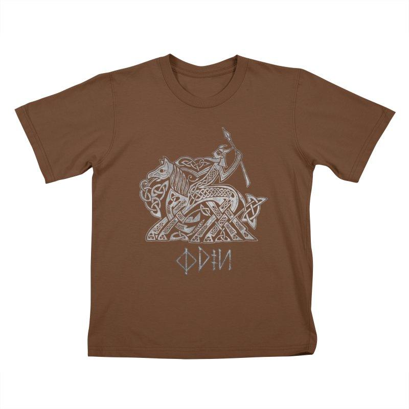 Odin Riding into Valhalla on Sleipnir (Gray) Kids T-Shirt by Celtic Hammer Club Apparel