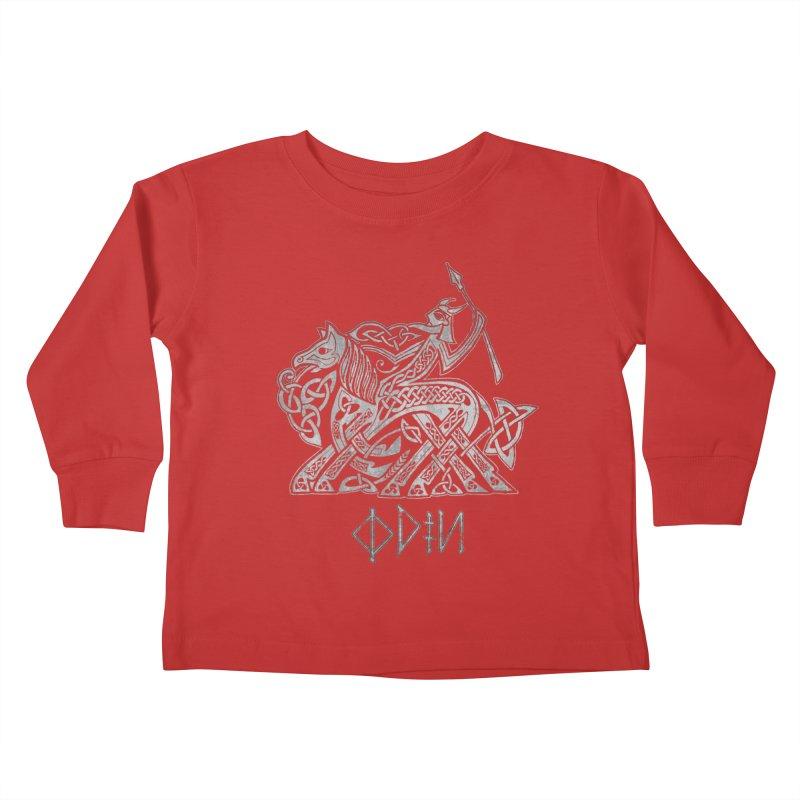 Odin Riding into Valhalla on Sleipnir (Gray) Kids Toddler Longsleeve T-Shirt by Celtic Hammer Club Apparel