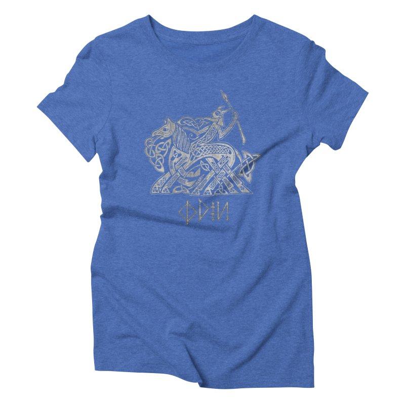 Odin Riding into Valhalla on Sleipnir (Gray) Women's Triblend T-Shirt by Celtic Hammer Club Apparel