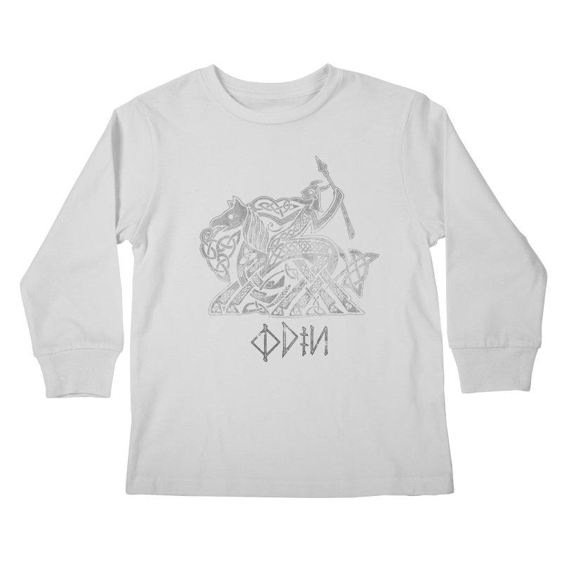 Odin Riding into Valhalla on Sleipnir (Gray) Kids Longsleeve T-Shirt by Celtic Hammer Club Apparel