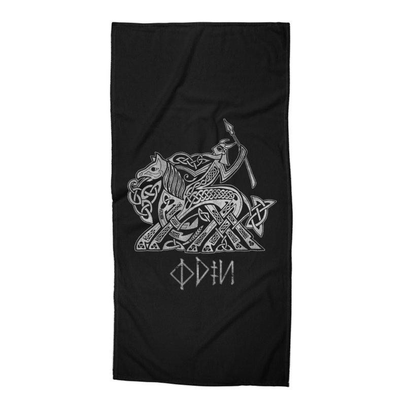 Odin Riding into Valhalla on Sleipnir (Gray) Accessories Beach Towel by Celtic Hammer Club Apparel