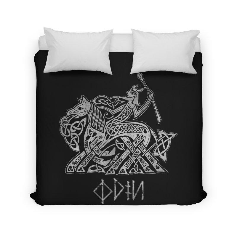 Odin Riding into Valhalla on Sleipnir (Gray) Home Duvet by Celtic Hammer Club Apparel