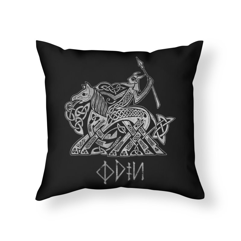 Odin Riding into Valhalla on Sleipnir (Gray) Home Throw Pillow by Celtic Hammer Club Apparel