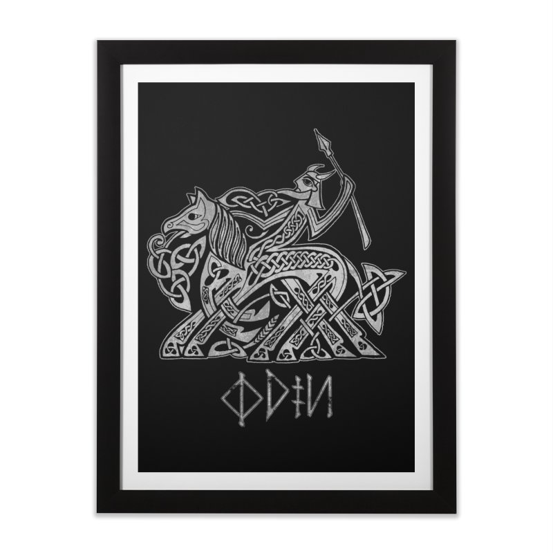 Odin Riding into Valhalla on Sleipnir (Gray) Home Framed Fine Art Print by Celtic Hammer Club Apparel