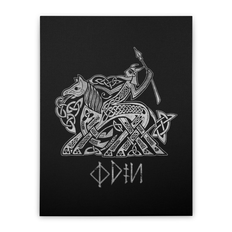 Odin Riding into Valhalla on Sleipnir (Gray) Home Stretched Canvas by Celtic Hammer Club Apparel