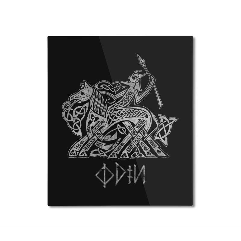 Odin Riding into Valhalla on Sleipnir (Gray) Home Mounted Aluminum Print by Celtic Hammer Club Apparel