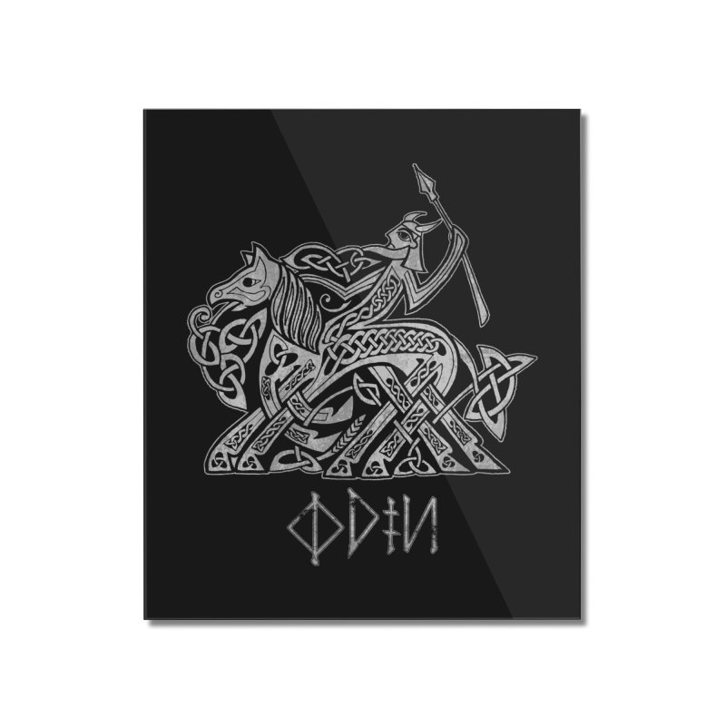 Odin Riding into Valhalla on Sleipnir (Gray) Home Mounted Acrylic Print by Celtic Hammer Club Apparel