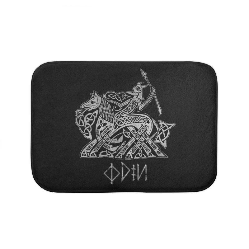 Odin Riding into Valhalla on Sleipnir (Gray) Home Bath Mat by Celtic Hammer Club Apparel