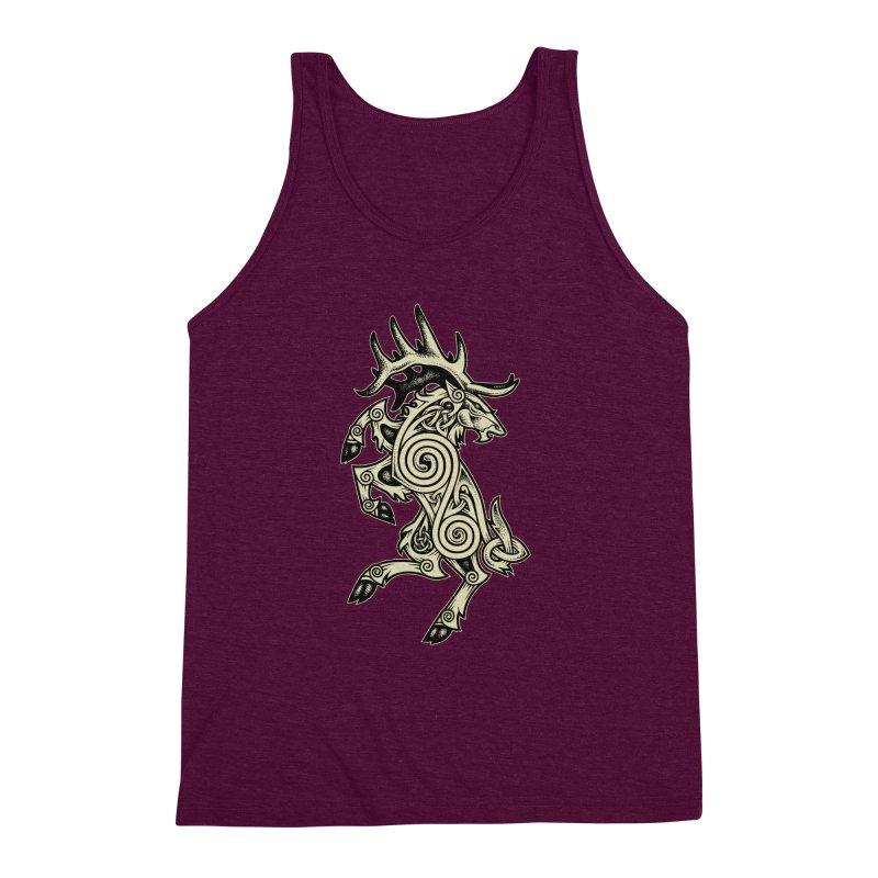 Celtic Elk Rampant Men's Triblend Tank by Celtic Hammer Club Apparel