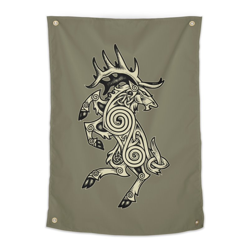 Celtic Elk Rampant Home Tapestry by Celtic Hammer Club Apparel