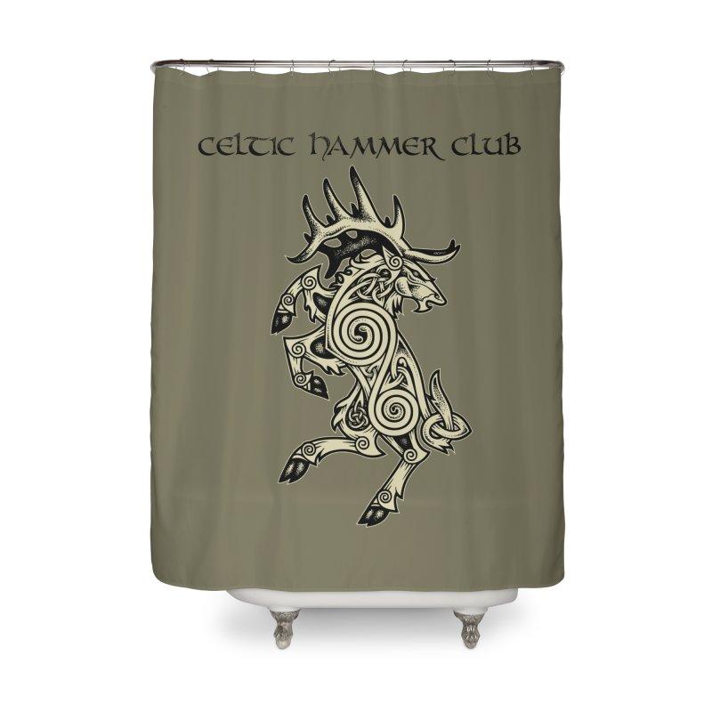 Celtic Elk Rampant Home Shower Curtain by Celtic Hammer Club Apparel