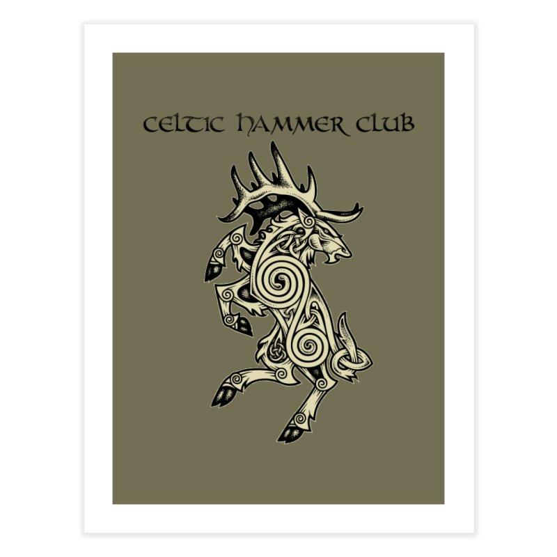 Celtic Elk Rampant Home Fine Art Print by Celtic Hammer Club Apparel
