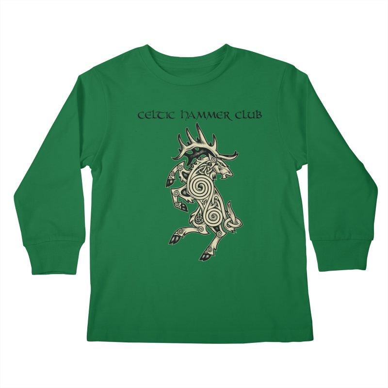 Celtic Elk Rampant Kids Longsleeve T-Shirt by Celtic Hammer Club Apparel