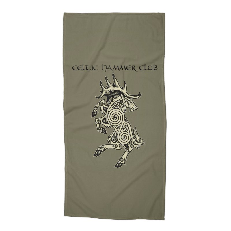 Celtic Elk Rampant Accessories Beach Towel by Celtic Hammer Club Apparel