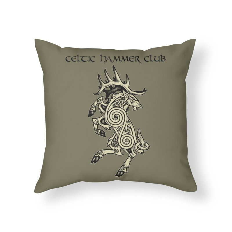 Celtic Elk Rampant Home Throw Pillow by Celtic Hammer Club Apparel