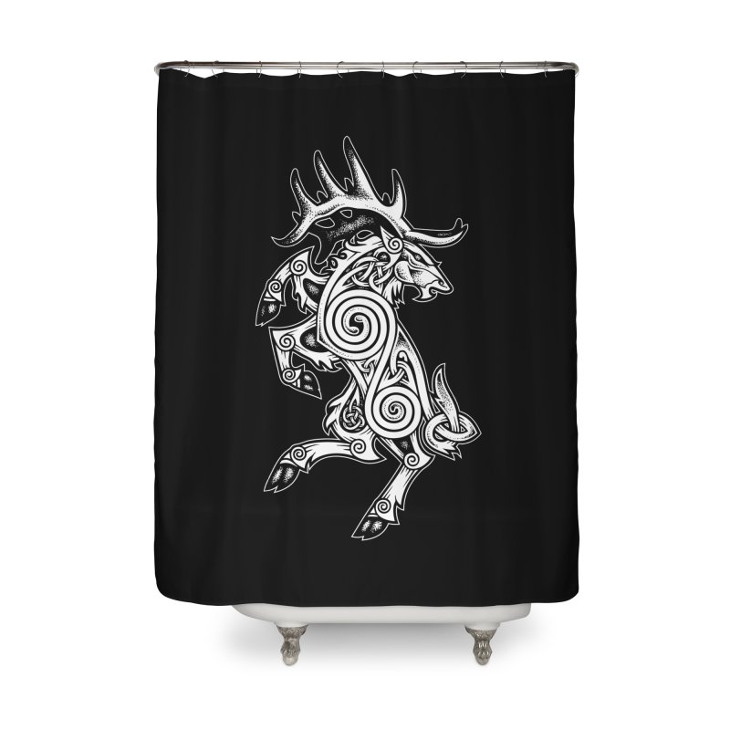 Celtic Elk Rampant Home Shower Curtain by Celtic Hammer Club Apparel