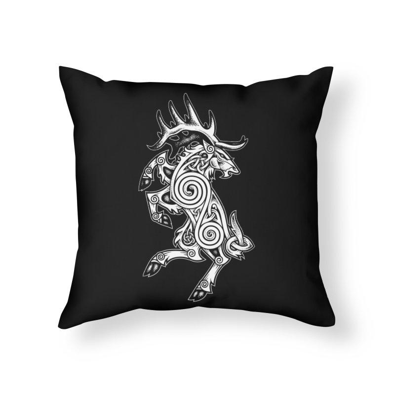 Celtic Elk Rampant Home Throw Pillow by Celtic Hammer Club Apparel