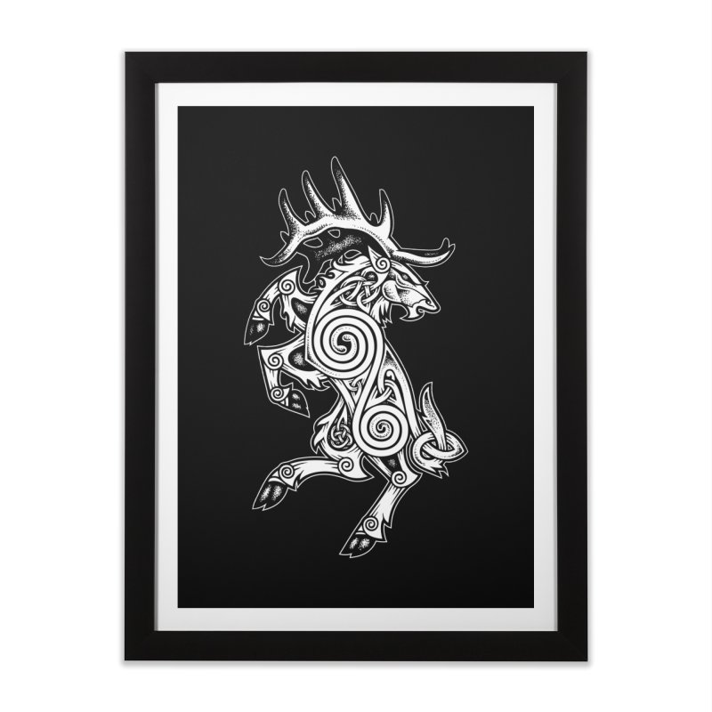 Celtic Elk Rampant Home Framed Fine Art Print by Celtic Hammer Club Apparel