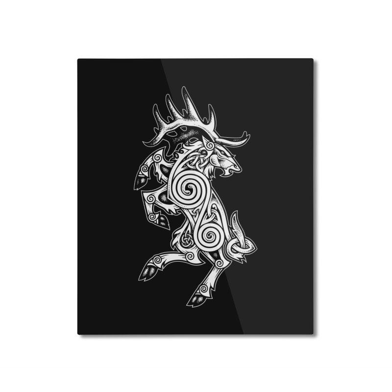 Celtic Elk Rampant Home Mounted Aluminum Print by Celtic Hammer Club Apparel