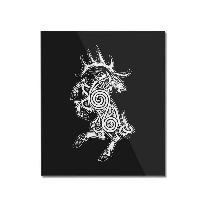 Celtic Elk Rampant Home Mounted Acrylic Print by Celtic Hammer Club Apparel