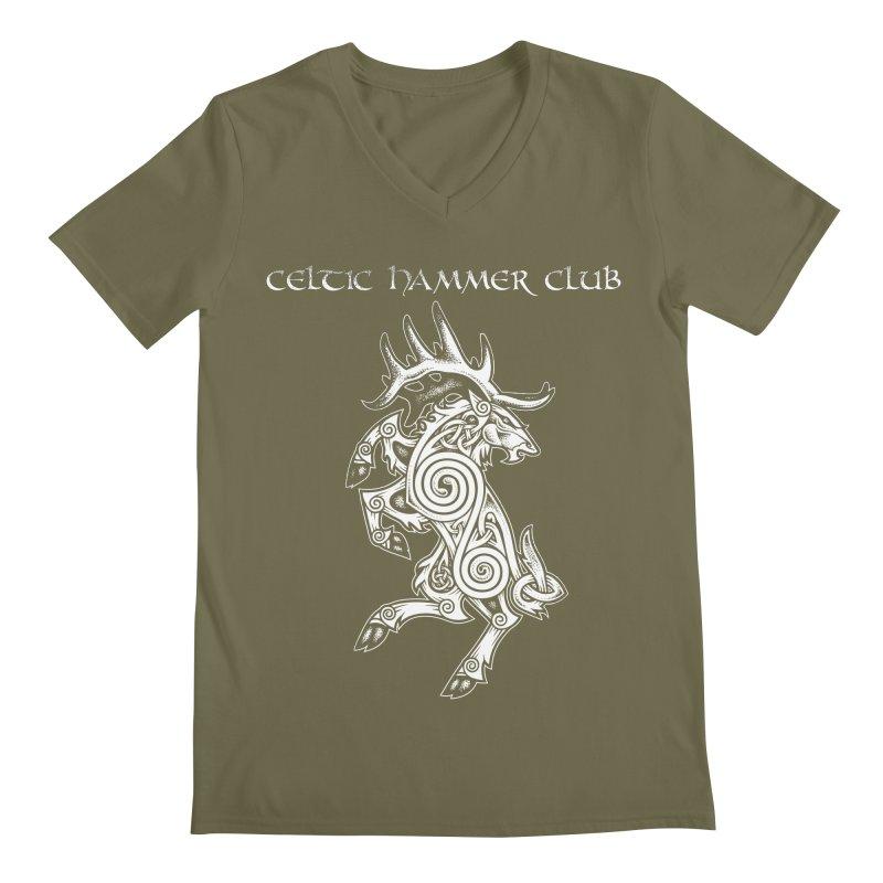 Celtic Elk Rampant Men's V-Neck by Celtic Hammer Club Apparel