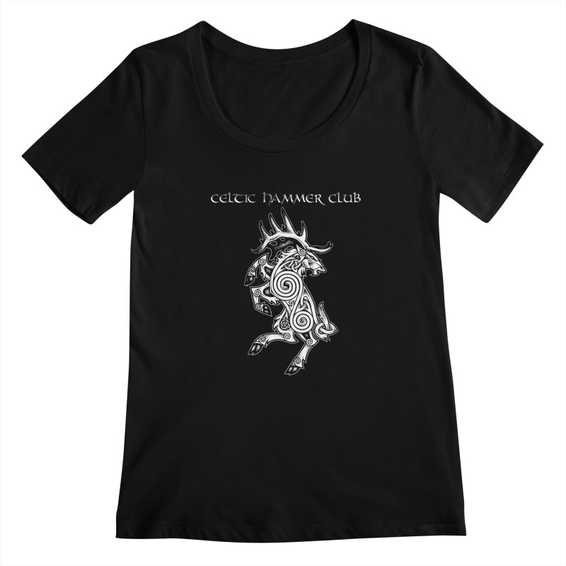 Celtic Elk Rampant Women's Regular Scoop Neck by Celtic Hammer Club Apparel