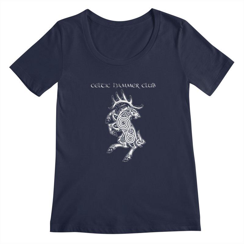 Celtic Elk Rampant Women's Scoopneck by Celtic Hammer Club Apparel