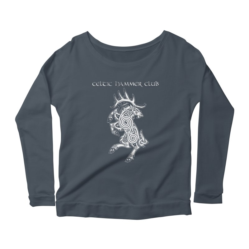Celtic Elk Rampant Women's Longsleeve Scoopneck  by Celtic Hammer Club Apparel