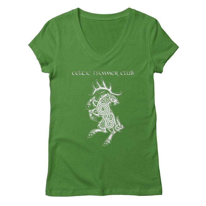 Celtic Elk Rampant Women's Regular V-Neck by Celtic Hammer Club