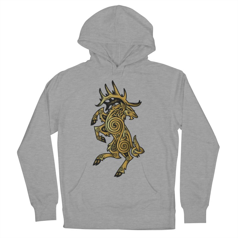 Celtic Elk Rampant Women's French Terry Pullover Hoody by Celtic Hammer Club Apparel