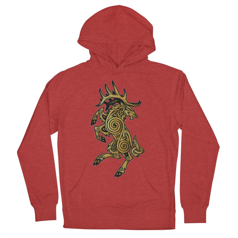 Celtic Elk Rampant Men's French Terry Pullover Hoody by Celtic Hammer Club