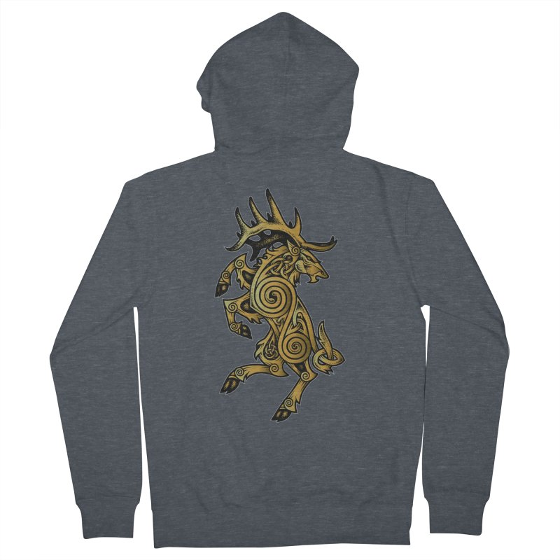 Celtic Elk Rampant Women's French Terry Zip-Up Hoody by Celtic Hammer Club Apparel