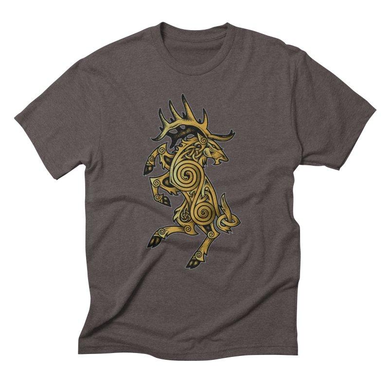 Celtic Elk Rampant Men's Triblend T-Shirt by Celtic Hammer Club Apparel