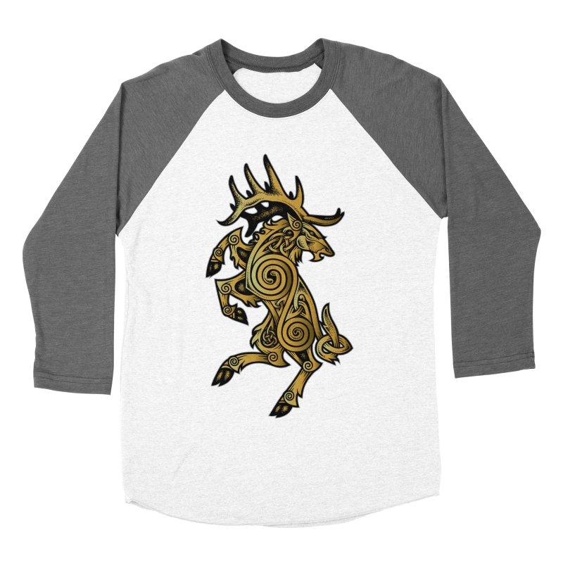 Celtic Elk Rampant Women's Baseball Triblend T-Shirt by Celtic Hammer Club Apparel