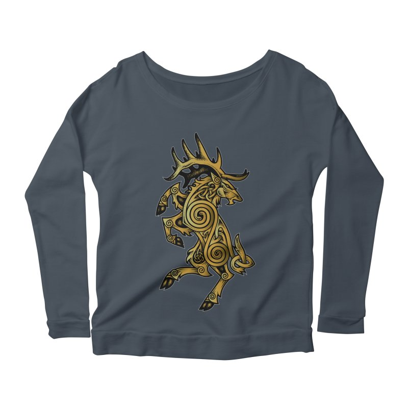 Celtic Elk Rampant Women's Longsleeve Scoopneck  by Celtic Hammer Club Apparel