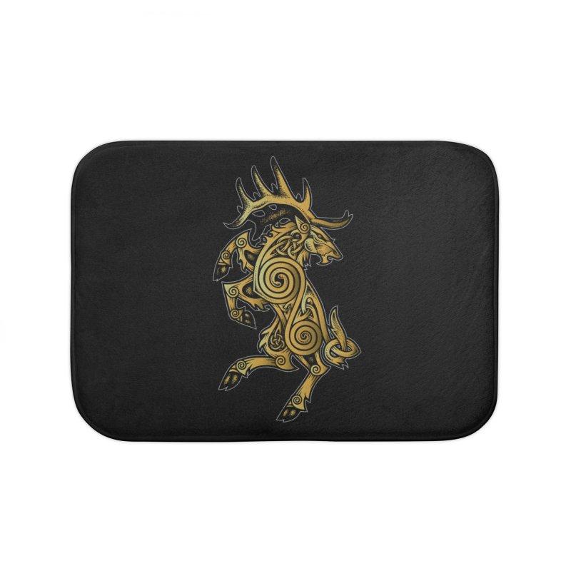 Celtic Elk Rampant Home Bath Mat by Celtic Hammer Club Apparel