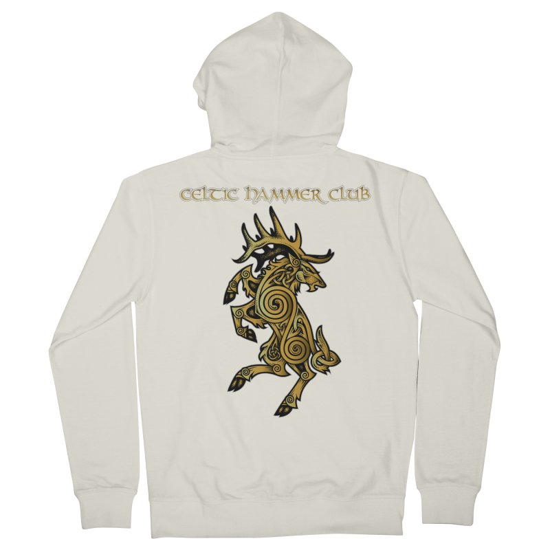 Celtic Elk Rampant Men's French Terry Zip-Up Hoody by Celtic Hammer Club Apparel