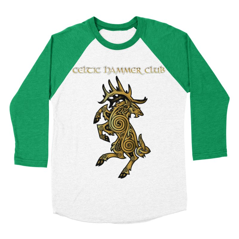 Celtic Elk Rampant Men's Baseball Triblend T-Shirt by Celtic Hammer Club Apparel