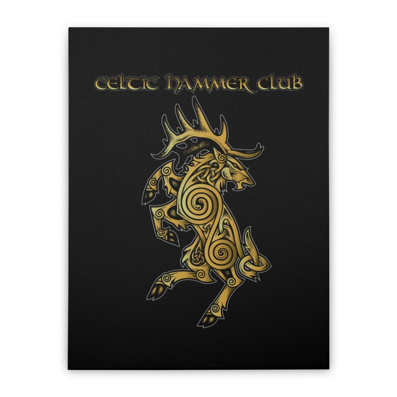 Celtic Elk Rampant Home Stretched Canvas by Celtic Hammer Club Apparel