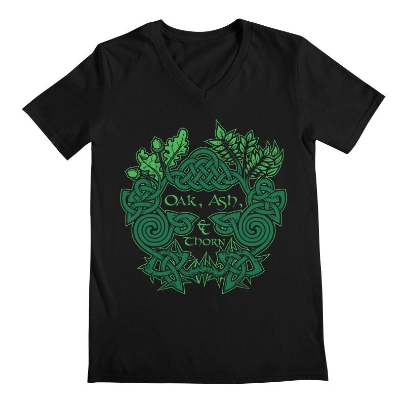 Oak, Ash & Thorn Band Logo Men's Regular V-Neck by Celtic Hammer Club Apparel