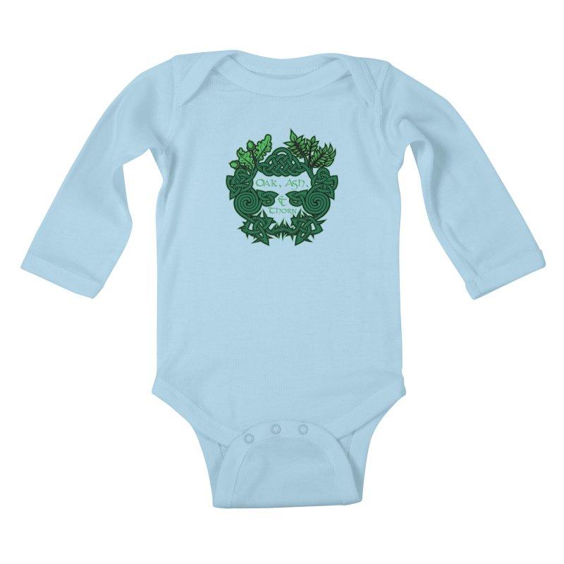 Oak, Ash & Thorn Band Logo Kids Baby Longsleeve Bodysuit by Celtic Hammer Club Apparel