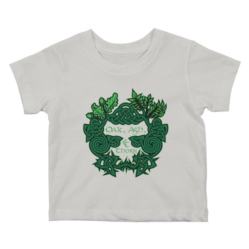Oak, Ash & Thorn Band Logo Kids Baby T-Shirt by Celtic Hammer Club Apparel
