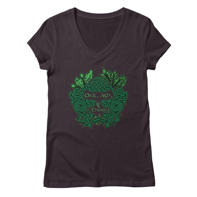 Oak, Ash & Thorn Band Logo Women's Regular V-Neck by Celtic Hammer Club