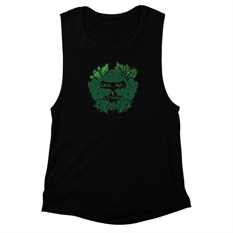 Oak, Ash & Thorn Band Logo Women's Muscle Tank by Celtic Hammer Club Apparel