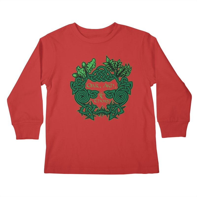 Oak, Ash & Thorn Band Logo Kids Longsleeve T-Shirt by Celtic Hammer Club Apparel