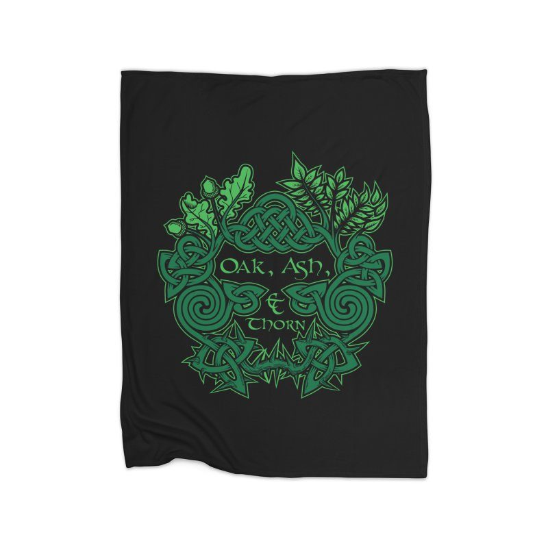 Oak, Ash & Thorn Band Logo Home Blanket by Celtic Hammer Club Apparel