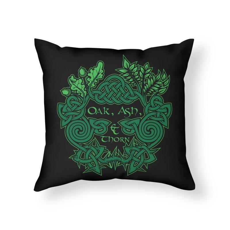 Oak, Ash & Thorn Band Logo Home Throw Pillow by Celtic Hammer Club Apparel