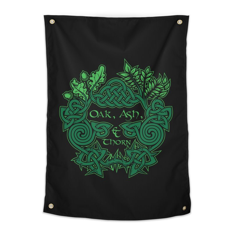 Oak, Ash & Thorn Band Logo Home Tapestry by Celtic Hammer Club Apparel